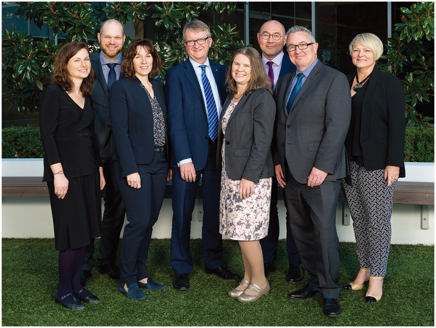 Senior Leadership Group (L to R): Chelsey Bell, Paul Pfitzner, Louise Macleod, Michael Manthorpe, Fiona Sawyers, Rodney Lee Walsh, Dermot Walsh and Doris Gibb. Photo taken in August 2017.
