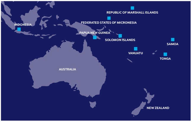 Image showing map of the countries we engage with to deliver our international program in the Asia-Pacific region. Left to right: Indonesia, Australia, Papua New Guinea, Federated States of Micronesia, Republic of Marshall Islands, Solomon Islands, Vanuatu, Tonga, Samoa and New Zealand