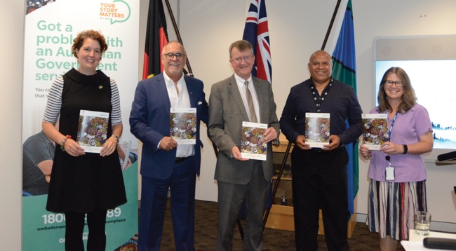 Photo of 2018 Reconciliation Action Plan launch. Left to right: Jaala Hinchcliffe, Russell Taylor, Michael Manthorpe PSM, Charles Turner and Fiona Sawyers